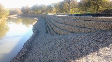 Civil Engineering - Gabion Slope - Stability Protection Structure for City of Dallas 72 inch Water Line, Trinity River, Dallas, Texas